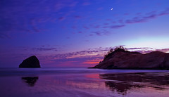 Purple Haze (Kyle Kruchok) Tags: ocean moon oregon reflections purple awesome pacificnorthwest haystackrock epic epicsunset kylekruchokphotography