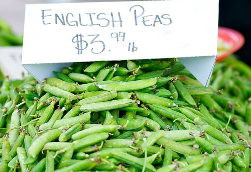 fresh English peas from Hillcrest farmers' market in San Diego