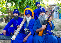 The Valiant Ones (gurbir singh brar) Tags: blue portrait men team nikon group warriors sikhs turban sikh punjab nikkor crossbow punjabi 2010 singh khalsa wonderfullife brar gurdaspur gurbir nihang nihangs unseenasia dumala  2470mmf28g gurbirsinghbrar gurbirsingh   nikond3s          babajageersingh
