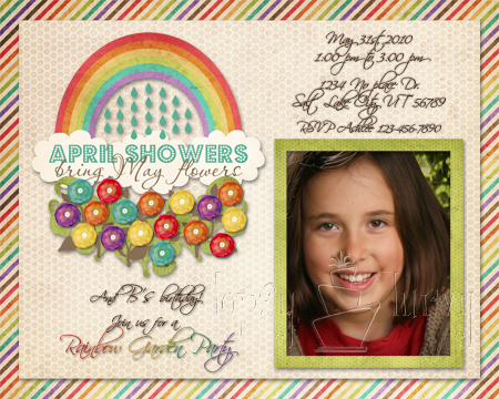 rainbow garden party birthday invitation