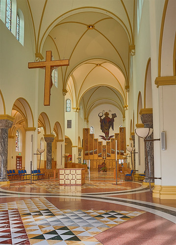 Saint Meinrad Archabbey, in Saint Meinrad, Indiana, USA - nave of church