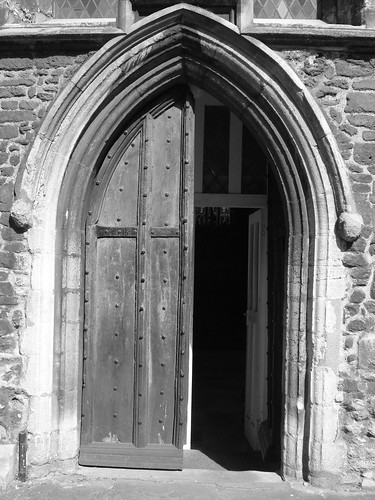 Half open church door