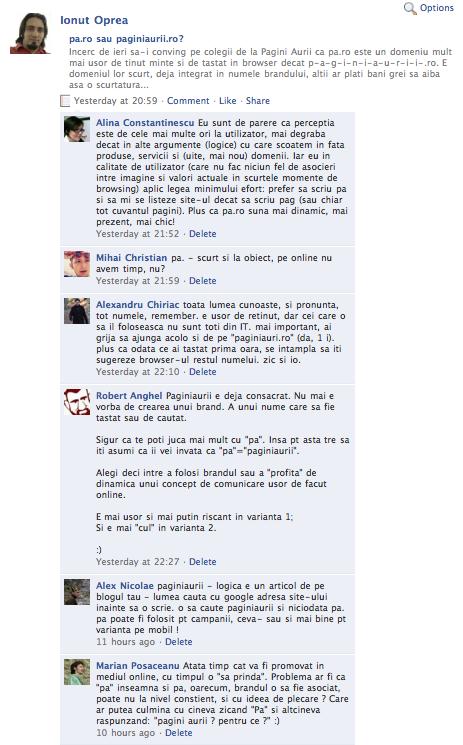 Comentarii pe Facebook la articolul pa.ro vs paginiaurii.ro