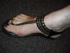 thong sandal with roman studs.  Black nail polish (2moshoes) Tags: man black male men leather fun him shoe back toes toe legs sandals nail polish thong strap nailpolish toering sandal backstrap