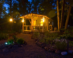 Cabin at night (Geek in the garden) Tags: night cabin structure porch lanterns homestead tinyhouse