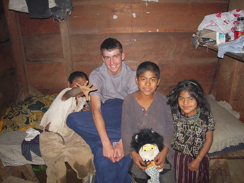 Volunteer Silas Talbot helping Guatemalan kids