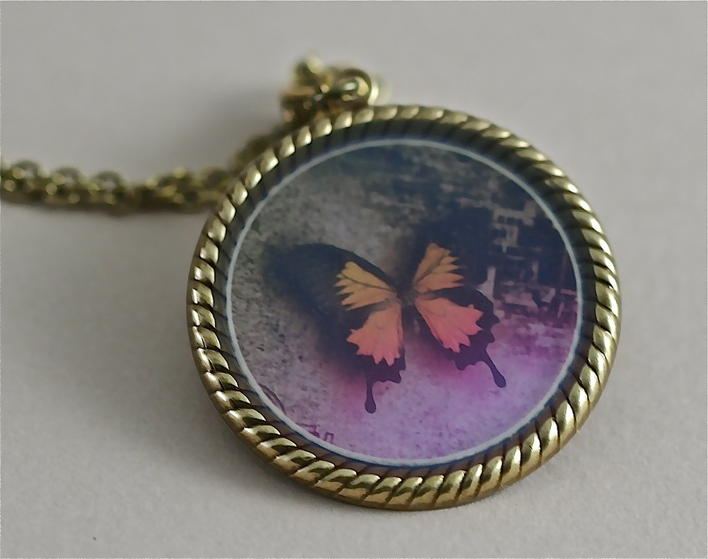 Antiqued Gold Butterfly Pendant