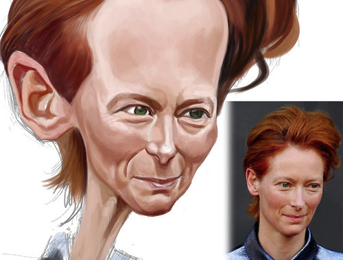 digital caricature of Tilda Swinton - 3