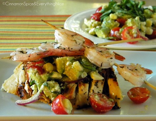 Avocado and Feta Salad with Marinated Grilled Chicken and Shrimp Skewers