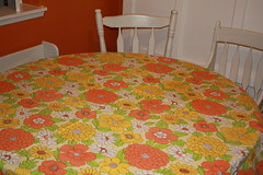 Flower Power Tablecloth (Whimsie Dots) Tags: orange flower green floral yellow power retro cotton round polyester summertime tablecloth bold