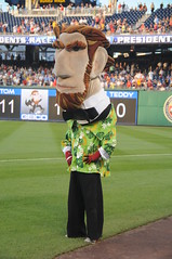 Washington Nationals racing president Abraham Lincoln shows off his new Hawaiian shirt