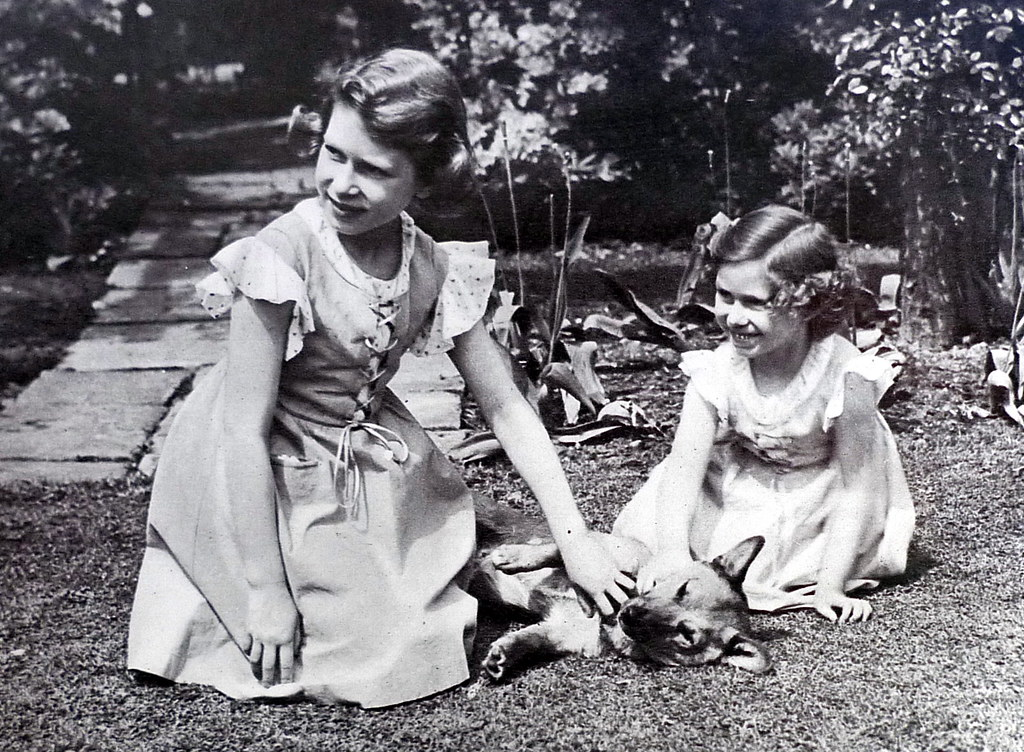 Elizabeth aged about 10 with Margaret