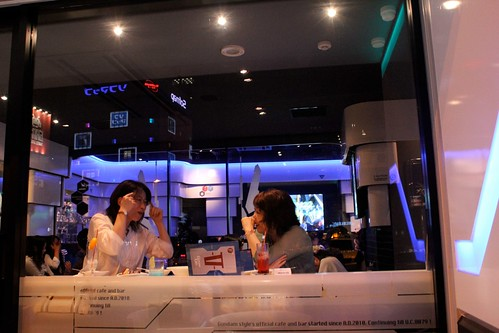 Two Ladies Chatting in Gundam Cafe