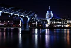 Millennium Bridge (Gwenllian Evans) Tags: city uk bridge england london thames night river long exposure cityscape capital millennium waterscape