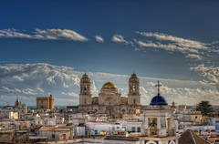 View of the Cathedral of Cadiz  Vista de la Catedral de Cdiz (Spain), HDR (marcp_dmoz) Tags: city espaa clouds photoshop spain nikon cathedral map kathedrale catedral wolken ciudad andalucia roofs stadt dome nubes cadiz nikkor andalusia andalusien tone cupula hdr spanien tejados kuppel dcher photomatix tonemapped tonemapping tonemap 50mmf14g d700 santacruzsobreelmar santacruzsobrelasaguas