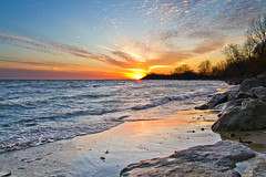 Ultra Wide Angle Lake Erie Sunset at Nanticoke Ontario (Christopher Brian's Photography) Tags: blue autumn trees sunset sun sunlight ontario canada colour fall beach water clouds sand waves lakeerie greatlakes nanticoke canoneos7d tokina1116mmf28