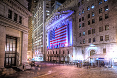 Wall Street At Sleep, with lights. (Tony Shi Photos) Tags: nyc light newyork photo purple manhattan district wallstreet asleep financial hdr stockexchange nyse nuevayork    nikond700   tonyshi