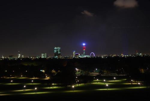 park strung with lights