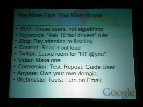 List of 9 SEO tips by Google at Pubcon 2010