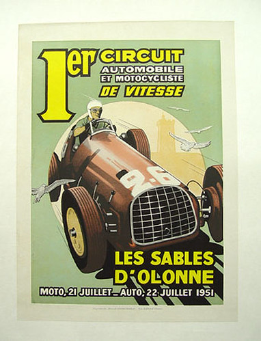 002-1951 Les Sables D'Olonne, first running of this event-© 2010 Vintage Auto Posters. All Rights Reserved