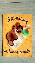 carte hama beads ourson (Claire Coopmans) Tags: naissance carte cards hamabeads hama bead beads perles perler birth babygirl baby cobgratulation félicitations pixels pixel pixelart art ours ourson bear teddybear biberon