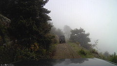 Dash cam view of the lethal fog (Red Cathedral loves Quebec) Tags: goprohero3 adventure eventcoverage action water forest tree mountain mountans river crossing wade wadi 4x4 offroad landrover defender discovery mist fog spain espana waterfall pyreneeen pyrenees mountains pirineos pireneus