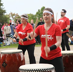 Drumming for Canada (Cindy's Here) Tags: drumming canadaday festivities thunderbay ontario canada canon 117 instrument 45