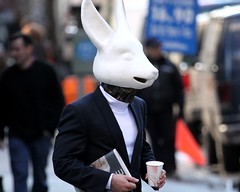 Rabbit (TMNYNY) Tags: street nyc newyorkcity newyork man west rabbit walking newspaper head alice manhattan midtown papercup syfy