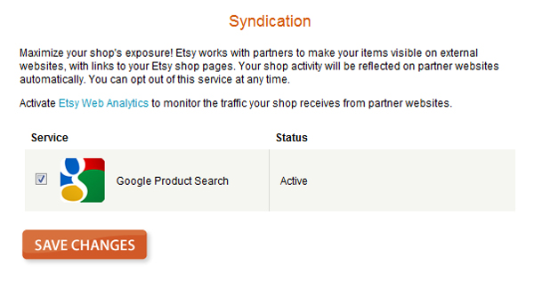 Screen shot of active google product search syndication feed