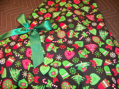Christmas apron close-up