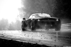 FarbioGTS on a Wet Ring. (Denniske) Tags: november blackandwhite bw black rain canon photography eos is track noir 04 4th automotive 11 spray 09 l mm dennis circuit zwart 70200 2009 nero f28 ef schwarz gts on rma noten lseries farboud llens trackdays 40d farbio denniske dennisnotencom rmatrackdaynurburgringnordschleife041109