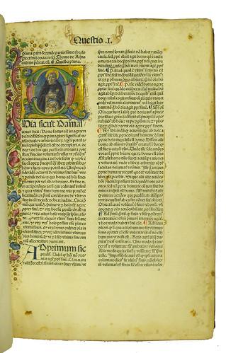 Incipit and historiated initial in Thomas Aquinas: Summa theologiae: Secunda pars, prima secundae