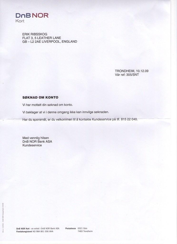 5b624b933 johncons: Nå fikk jeg avslag på NITO Kortet, fra DNB, enda jeg har ...