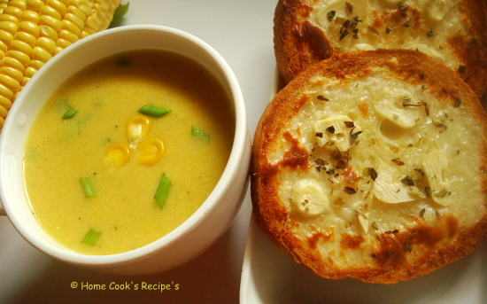 Sweet Corn Soup with Garlic Bread