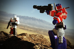 One Shall Fall (ElDave) Tags: macro toy toys actionfigure transformers megatron autobot optimusprime decepticon revoltech playingwithadamonthevolcano