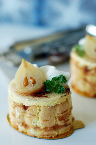Poire William Mousse with Caramel Biscuit