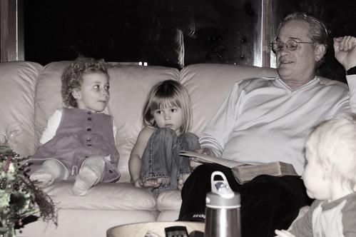 Grandpa reading Luke 2