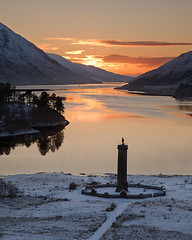 Glenfinnan in the snow (David Kendal) Tags: winter sunset snow lochshiel glenfinnan jacobite glenfinnanmonument scottishwinter