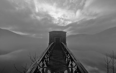 FoggyBridge (andyathlon) Tags: trip bw cloud white mist black water fog wales clouds landscapes day sony reservoir breconbeacons brecon beacons talybont a700