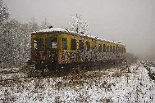 trains in the snow
