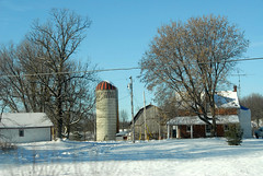 Roadside barn with silo (jonfholl) Tags: ontario canada barn roadside snowylandscape