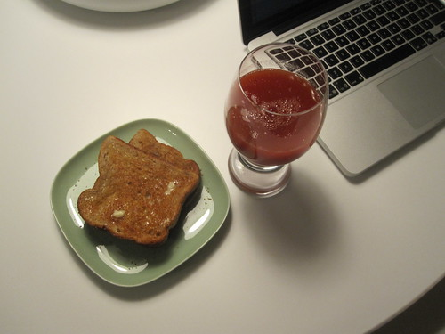 Buttered toasts, tomato juice