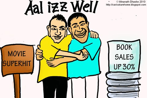 Cartoon showing Producer-actor Aamir Khan and writer Chetan Bhagat of 3 Idiots