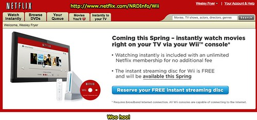 Netflix integrating with Wii