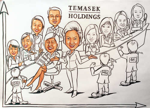 Group caricatures for Morgan Stanley (Temasek Holdings) progress