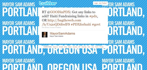 Twitter - Mayor Sam Adams- RT @GOODinPDX