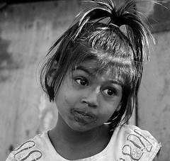 Childish Innocence (foto_fanatic) Tags: poverty portrait blackandwhite bw baby white black girl station naughty children blackwhite child little chocolate indian clown hill poor khandala innocence littlegirl mumbai lonavala hillstation naughtygirl littlebaby