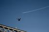 flight. (Air Adam) Tags: bridge sky bird plane manchester contrail pigeon competition aeroplane castlefield top20blue flickrcoolest