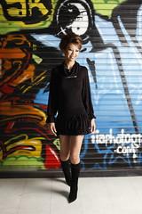 street style. (Liz Lieu) Tags: graffiti casual kneehighboots 2010 streetstyle lizlieu thepokerdiva propokerplayer chilipokercom