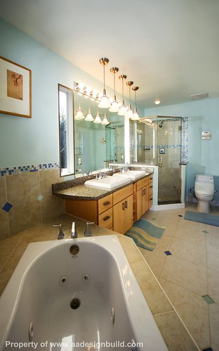 www.aadesignbuild.com, A&A Design Build Remodeling, Master Bathroom, Washington DC, Chevy Chase, Bethesda, Corner Shower and Tub, Corner Window, Lights, Aging in Place by A&A Design Build Remodeling, Inc.